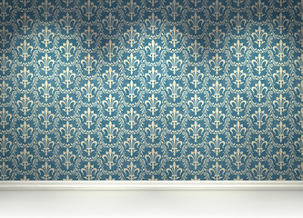 leere Wand mit blauer Mustertapete