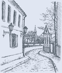 Vector cityscape . Narrow street of old town