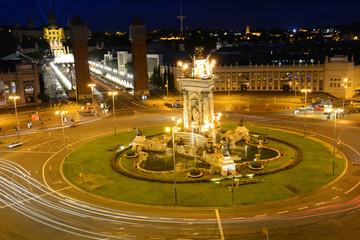 Plaça d'Espanya (Plaza de España) at night, Barcelona, Spain