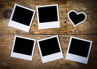 Instant photo frames, with one heart-shaped