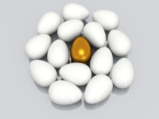 Unique golden egg among white eggs