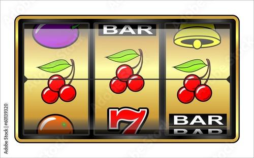 jeu de casino machine sous 3 cerises photo libre de droits sur la banque d 39 images fotolia. Black Bedroom Furniture Sets. Home Design Ideas