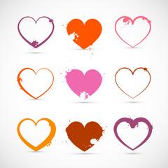 Heart Set. Valentine Symbols with Splashes, Stains, Blots.