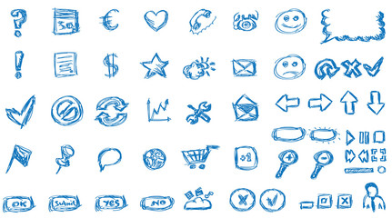 blue hand drawn internet icons for websites/apps