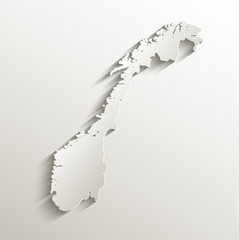 Norway map card paper 3D natural