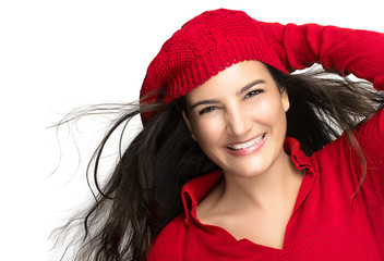 Happiness. Joyful Winter Girl in Red. Flying Hair