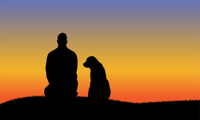 Man with dog silhouettes