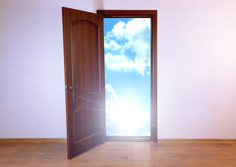 Open door to new life in room