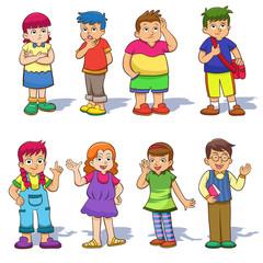 Set of cute cartoon kids.