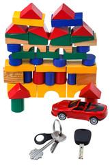 door, vehicle keys, red car model and block house