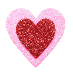 Glitter Red and Pink Hearts isolated on white. Macro.