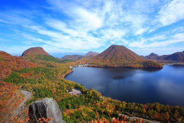 Autumn colours of Mt. Haruna and lake