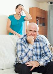 Upset man against wife