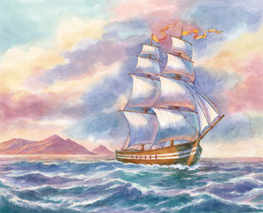 Морской пейзаж с кораблём. Акварель.