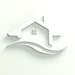 3D Real Estate Business White Home Icon