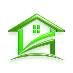 3D Glossy Real Estate Business Green Home Icon