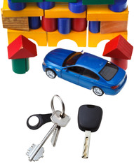 door, vehicle keys, blue car model and block house