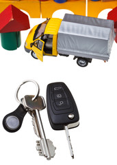 door, vehicle keys, truck model and block house