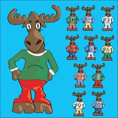 Cute moose cartoon in jeans