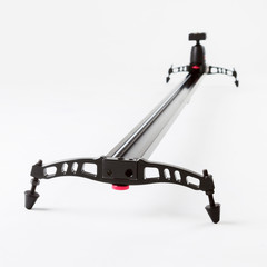 Studio shot of a linear camera slider on a white background