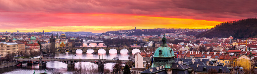 In de dag Lavendel Bridges in Prague over the river at sunset