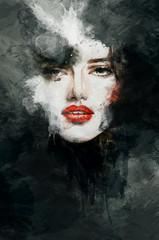Mooi vrouwengezicht. aquarel illustratie