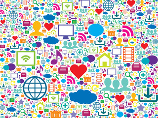 vector seamless pattern with social media and technology icons