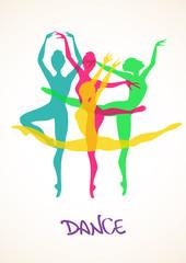 Illustration with ballet dancers