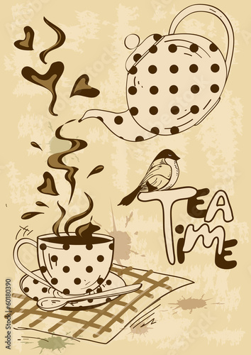 Tea Party Invitation With Teapot And Teacup Stock Image And Royalty