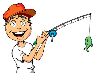 Vector Cartoon of a Happy Kid Who Just Caught a Fish