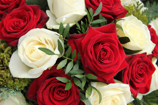 Red and white roses in a bridal bouquet