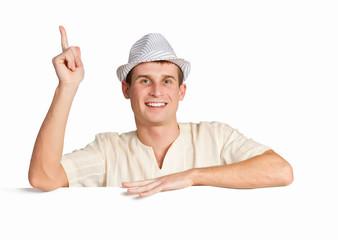 Boy with a blank billboard
