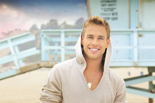 Smiling man at beach