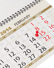 Calendar page with red thumbtack on February 14 2014.