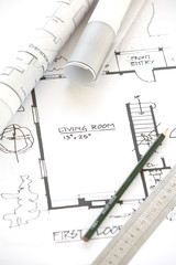 Wall Mural - Architect rolls and plans.architectural plan
