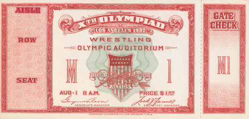 1932 Olympic Games Wresting Ticket