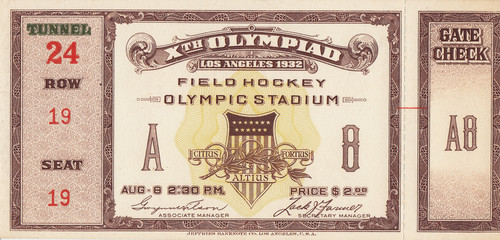 1932 Olympic Games Field Hockey Ticket