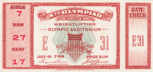 1932 Olympic Games Weightlifting Ticket