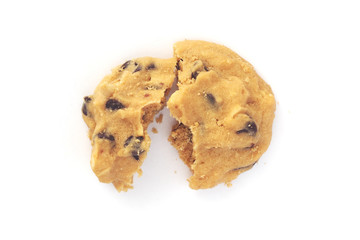 Broken chocolate chips cookie  on white background