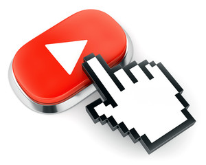 Red web video player button and hand shaped cursor