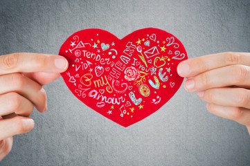Sharing love. Valentine's day background. Closeup of female hand