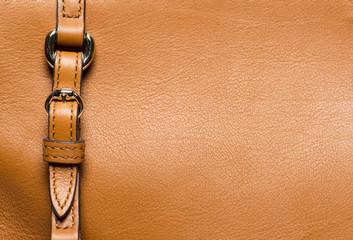 Macro of yellow leather and buckle