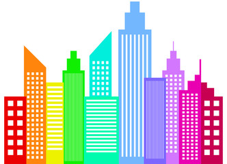 Rainbow Colored Modern City Skyscrapers Buildings Silhouettes