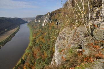 Blick vom Basteifelsen zur Elbe