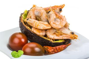 Shrimps in avocado