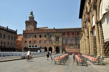 Piazza Maggiore in Bologna city, Italy