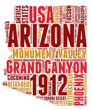 Arizona USA state map tag cloud