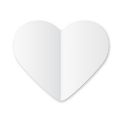 Paper white heart Valentines day card on white background.