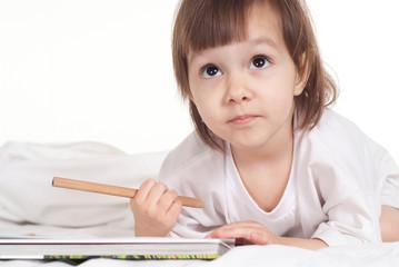 Lovely little girl drawing