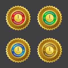 1 Year Warranty Gold Seal Vector Icon